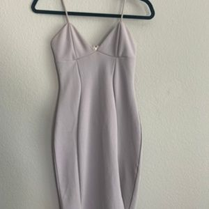 Midi sleek gray slit vegas dress